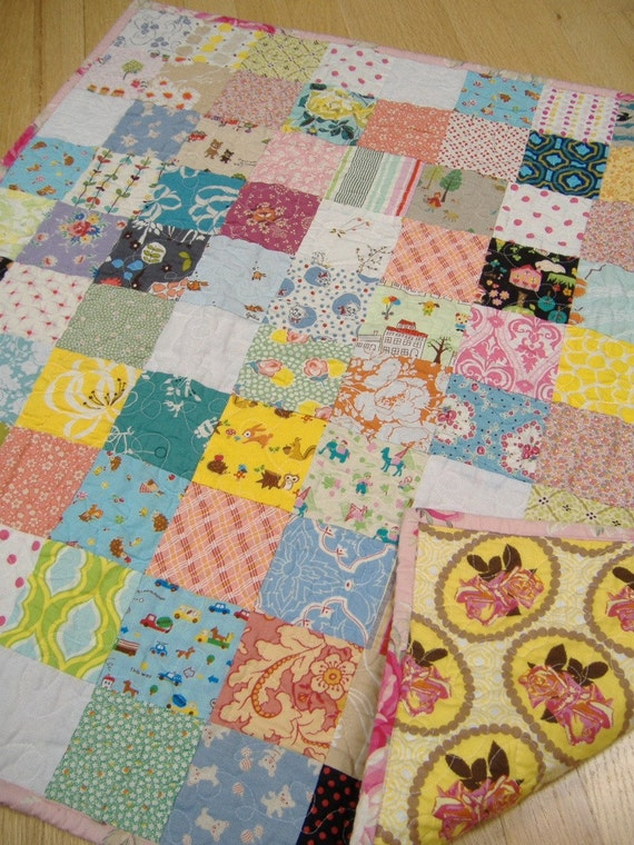 VINTAGE - MODERN LAP QUILT.  One of a Kind.  Featuring Japanese Prints, Heather Bailey, Amy Butler, and More.