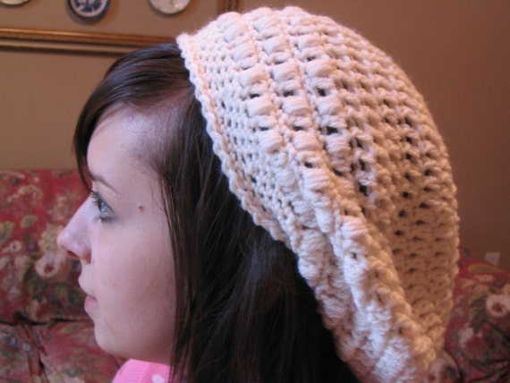 CREAM IVORY WHITE CROCHET BERET, SLOUCHY CELEBRITY STYLE - Emo, Cloche, Beret, Tam, Floppy, Beanie Hat - One Size Fits Most