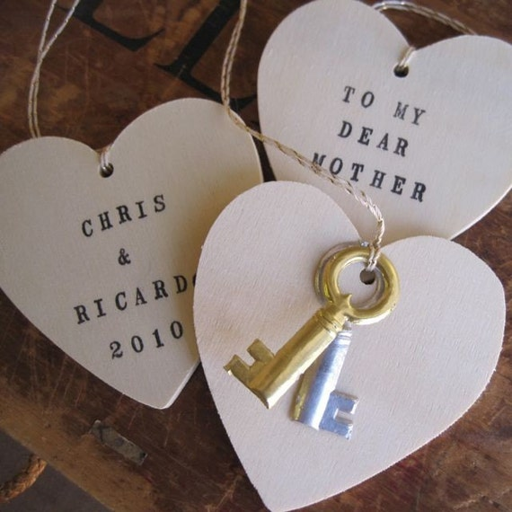 CUSTOM wooden heart ornament with dresden keys and your personal message- an heirloom Valentine by Paloma's Nest