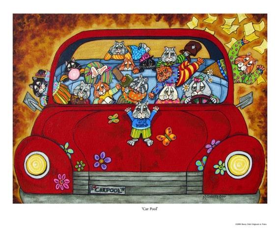 Cat Carpool Fine Art Mini Print