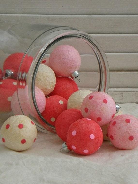 Valentine Ornament Balls, Polka Dots, Set of 18