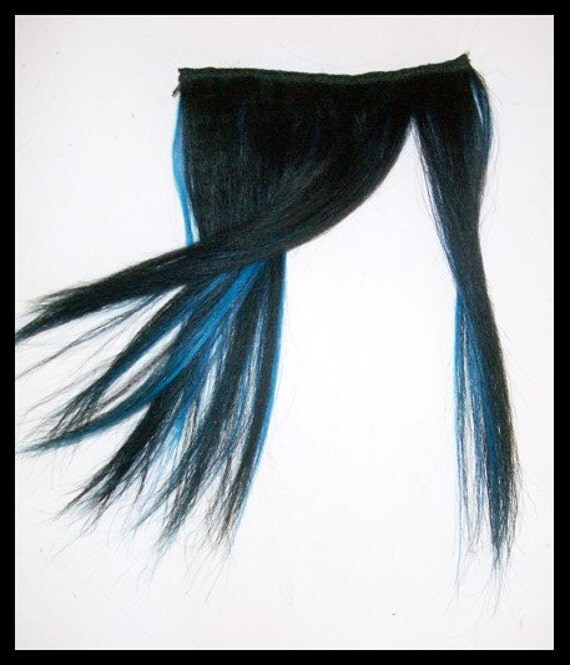 Jet Black/Electric Blue HUMAN HAIR clip in fake FRINGE Bangs. From Vivka