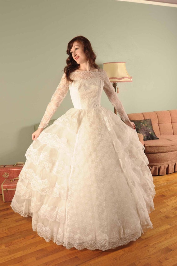 Floating Frills... A 1950s Tulle and Lace White Wedding Dress with Four Decadent Tiered Layers