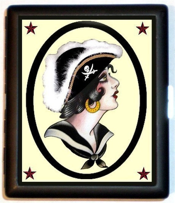 Vintage RETRO Tattoo Design Sexy Pirate Wench Vingette with Nautical Stars Unique and new design Black Metal Cigarette of ID card or Wallet Case
