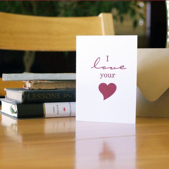 I Love Your Heart - Gocco Cards - Set of 8