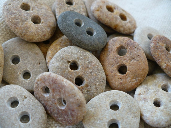 5 BABY STONE BUTTONS...5 sweet little hand drilled beach stones