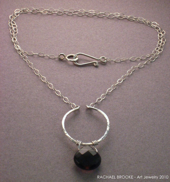 Recycled Sterling Lyre Necklace with Smoky Quartz