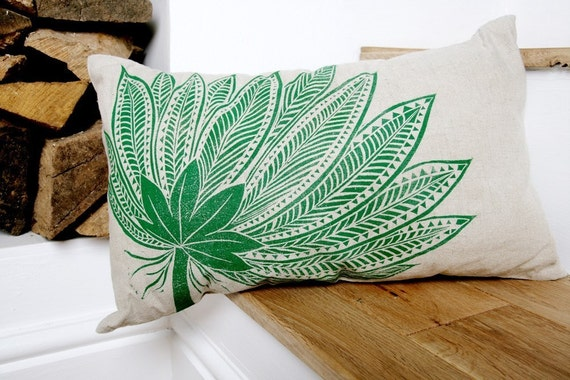 Oblong Linen Cushion Cover with Green Fern Motif