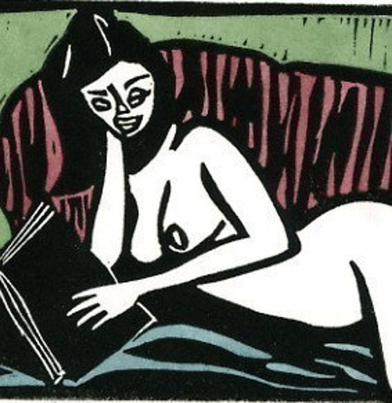 Read Naked - Linoleum Block Print Mature. From mmcullen