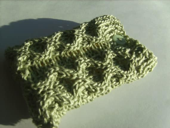 Handmade Elegant Light Green Cable Knit Tea Bag Cozy or Jewelry Pouch Two