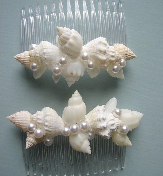 Seashell Комбс - Shell волос Расчески для невесты свадебное Бич, набор из 2