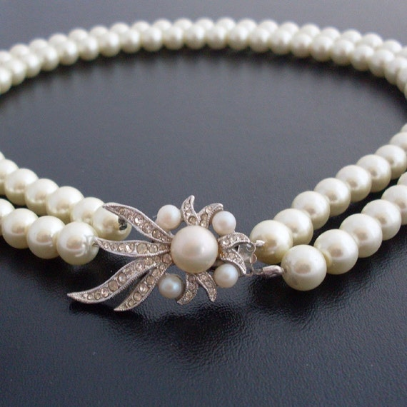 Necklace Caroline - Silver , Pearl