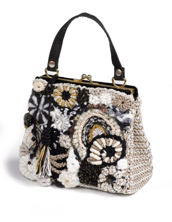 Upcycled Handbag OOAK Black and White Freeform Crochet
