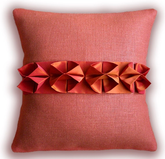 LAVERNE CUSHION New 16 inch Smocked Linen And Taffeta Pillow Cover in Terracotta