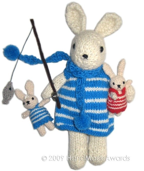 Lovely MUMMY BUNNY IS FISHING With Her TWINS pdf Email KNIT PATTERN