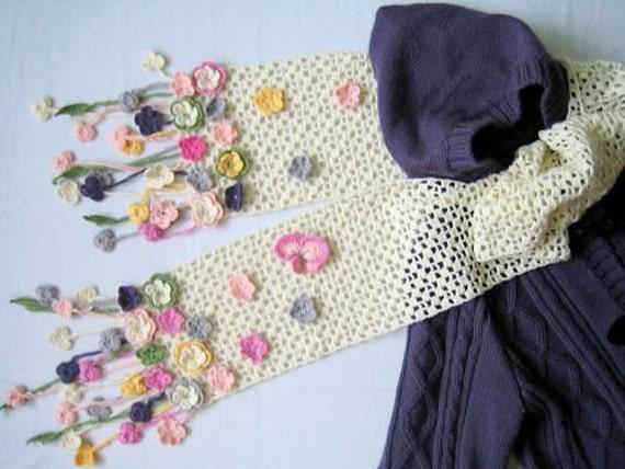 شگفت انگیز دستی قلاب دوزی روسری سفید با گل و پروانه