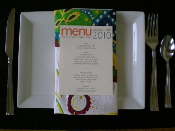 Modern Dinner Menu - Set of 25