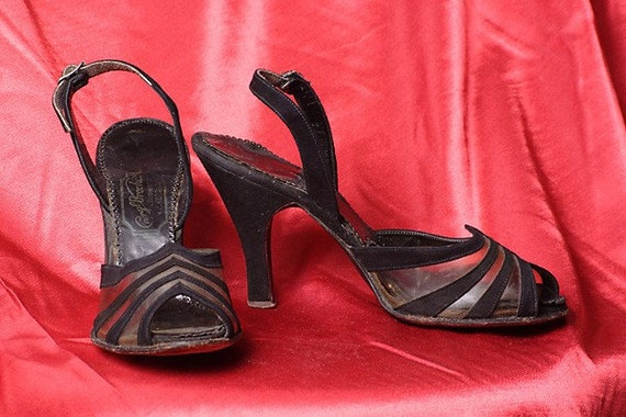 1940's Black and Acrylic Slingbacks, Size 5-5.5