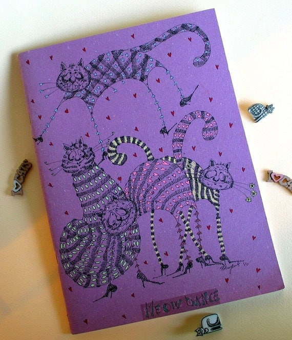 Ecological Recycled OOAK notebook-Meow Dance