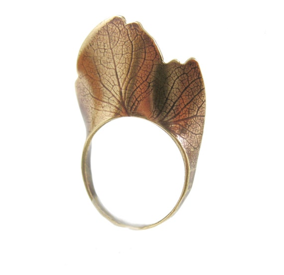 Hydrangea Petal Ring, Brass Peresrved Nature Jewelry
