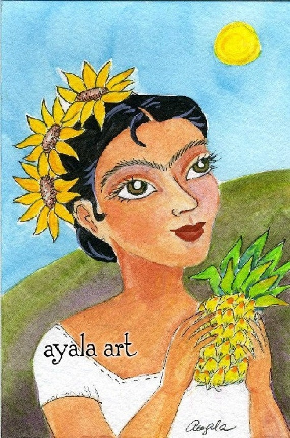 Frida Kahlo . Original Watercolor Art Card 4x6 Pineapple
