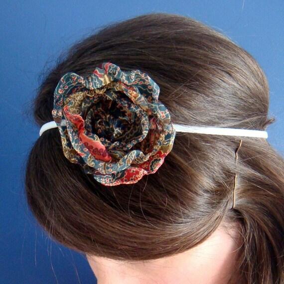 Handmade Headband, Chiffon Flower - rub a dub rug parched posy by milkmoneyshop
