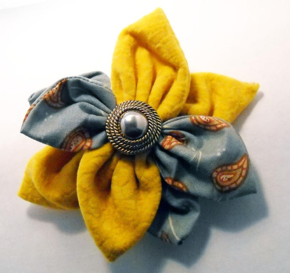 Paisley Shade of Orange Fabric Flower Brooch with Vintage Button