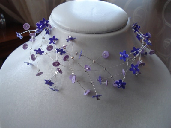 Sequin Flower Choker, Spring Necklace, Purple, Lilac, Silver,