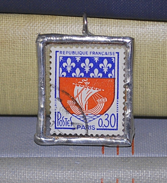 Vintage French Stamp (Paris) -- World Postage Stamp Series - Soldered Pendant
