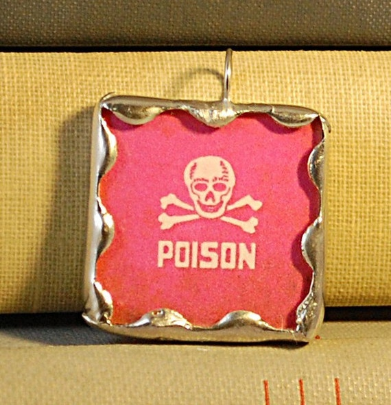 Vintage Pink Poison Labels (Double-Sided) -- One Inch Soldered Pendant - Halloween, Samhain
