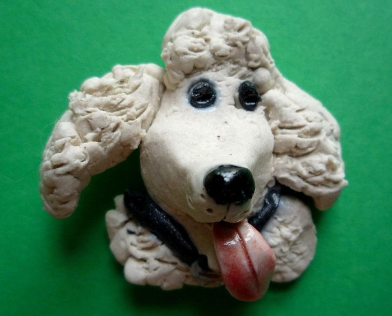 Sweetems the White Curly Haired French Poodle Pin Dog Brooch Stoneware Clay