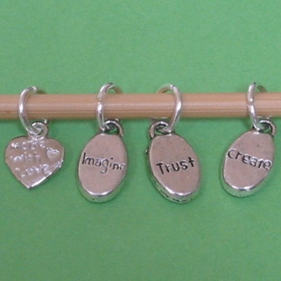 Knitting Stitch Markers, Silver 8mm, Imagine, Trust, Create, Handmade