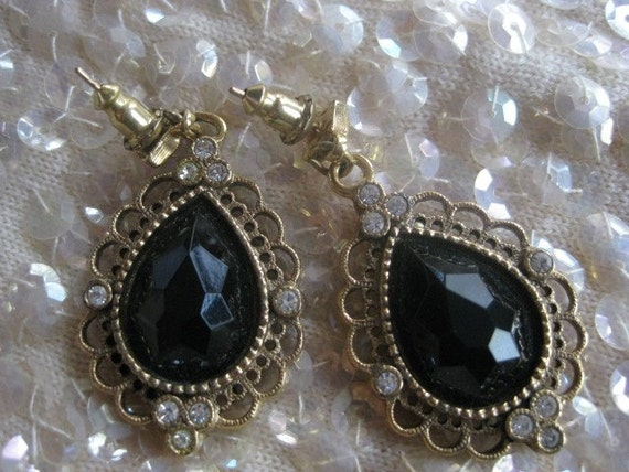 Vintage Earrings Black Crystal and Gold tone with  crystal insets