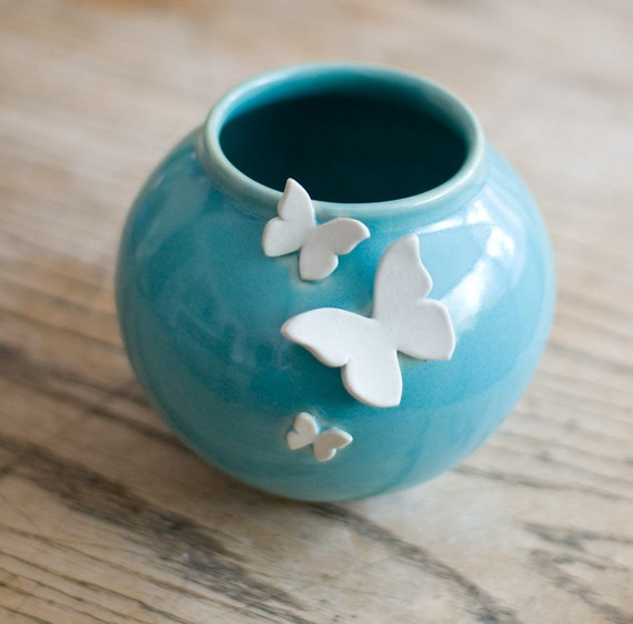Round Butterfly Vase- Robin's egg blue