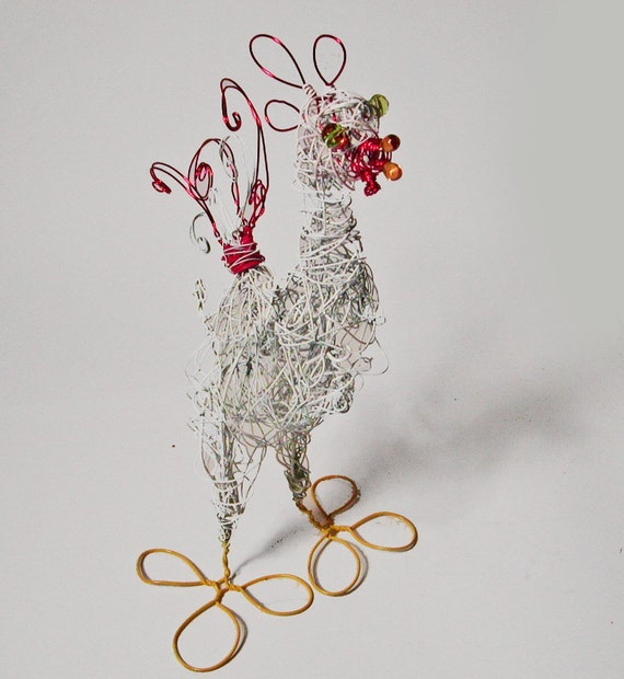 Large Crimson and White Wire  Rooster Sculpture
