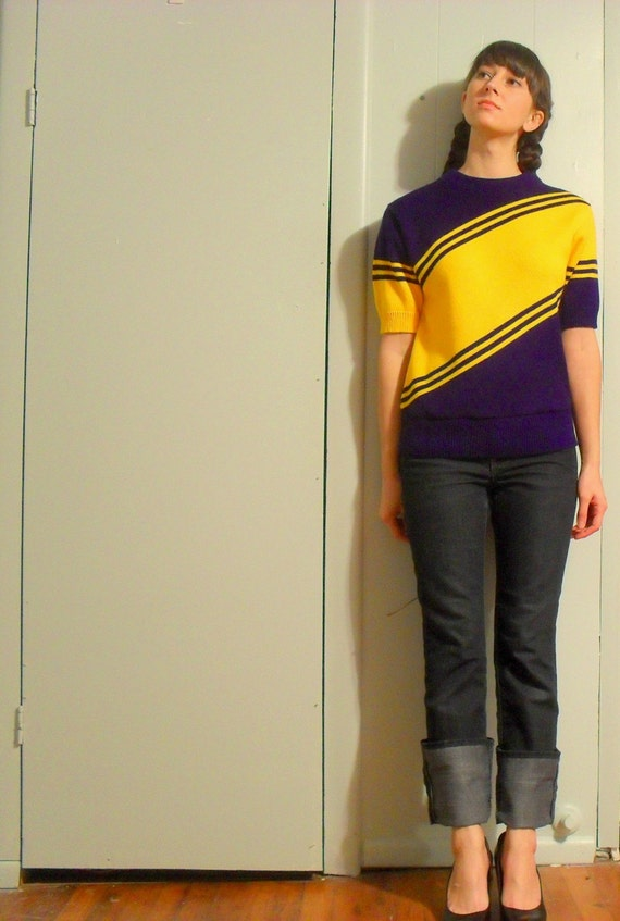 Vintage 80s cheerleader gold and purple short-sleeved sweater