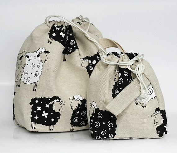 Set of 2 LUCKY SHEEP Knitter Project Bags. LARGE and MINI.... Special KnitterBag design.