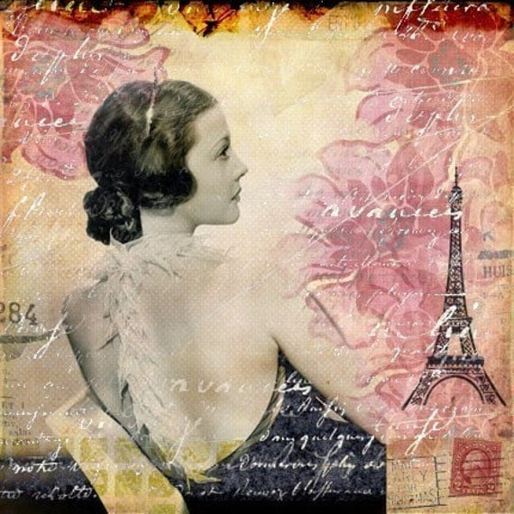 To Life, To Love - Eiffel Tower Paris Mixed Media Collage Art Print 10x10.. Other Sizes Available