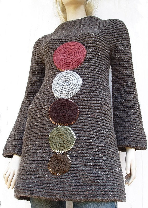 SALE - Brown Sweater Tunic Mini Dress Tweed Effect Long Sleeves Wool