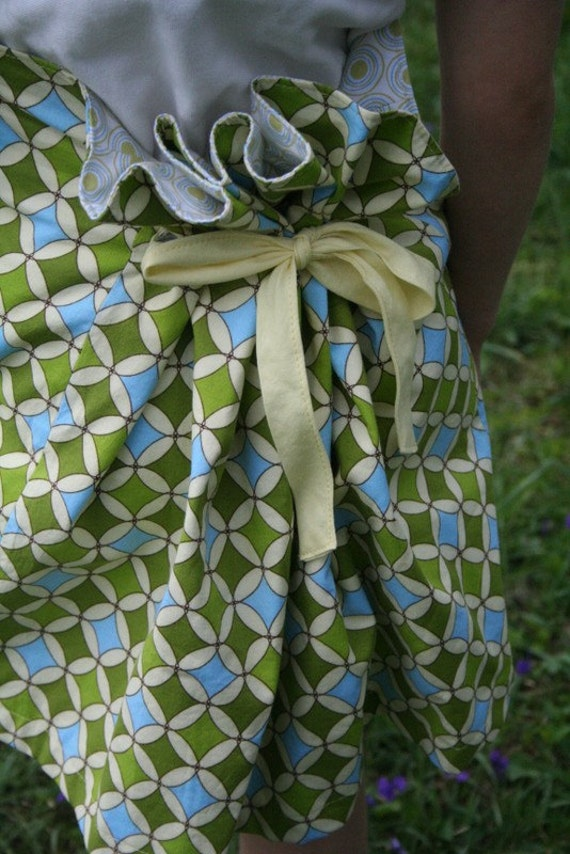 Lime Green Classy Reversible Bustle Skirt (Size 6 - 7) - Ready to Ship