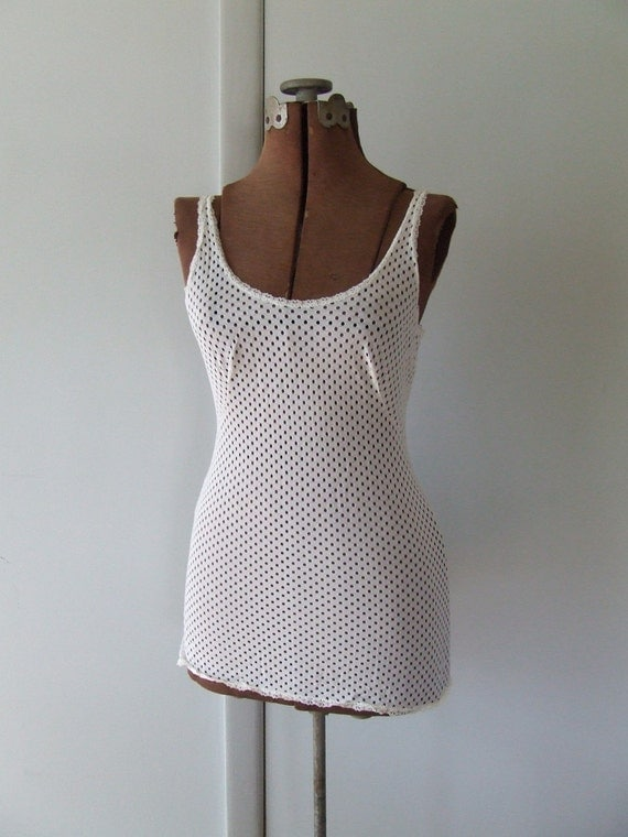Sheer White OpenKnit Tank Top Camisole Vintage Size SMALL MEDIUM MESH Sultry Summer