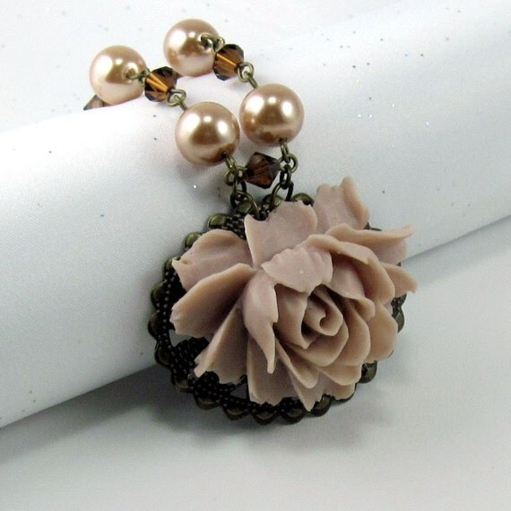 Rose Necklace  in Champagne Blush  w Pearl and Crystal