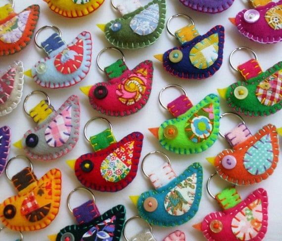 WHOLESALE LOT of 8 Eco Friendly Felt Bird Keychains Embroidery