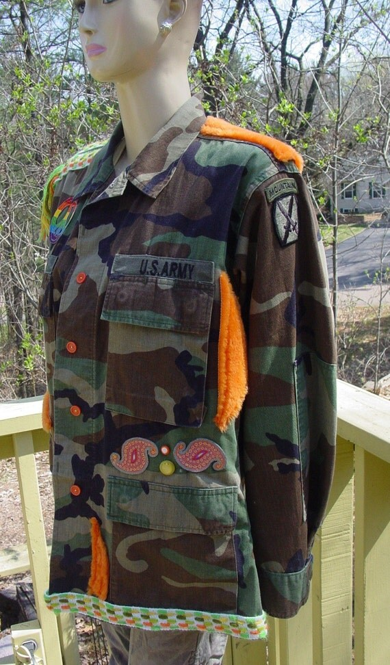 Altered PEACE military US ARMY jacket with vintage 60's trim and fur OOAK