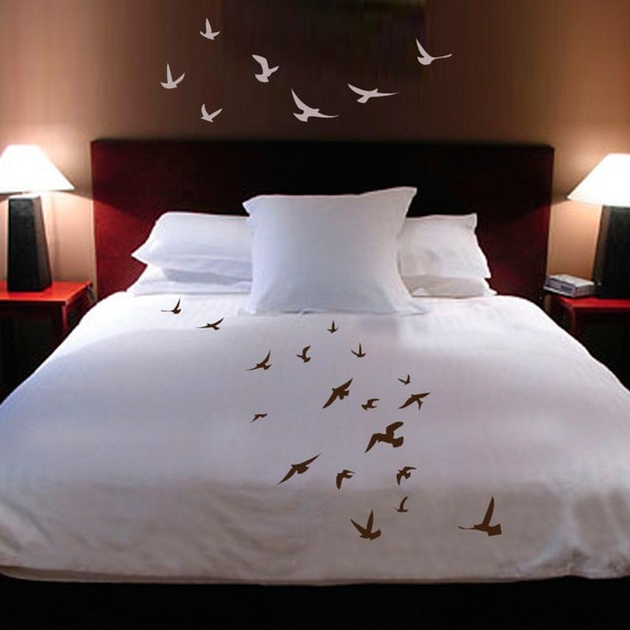 ShaNickers Handpainted Birds in Flight queen size DUVET COVER with shams PLUS decals