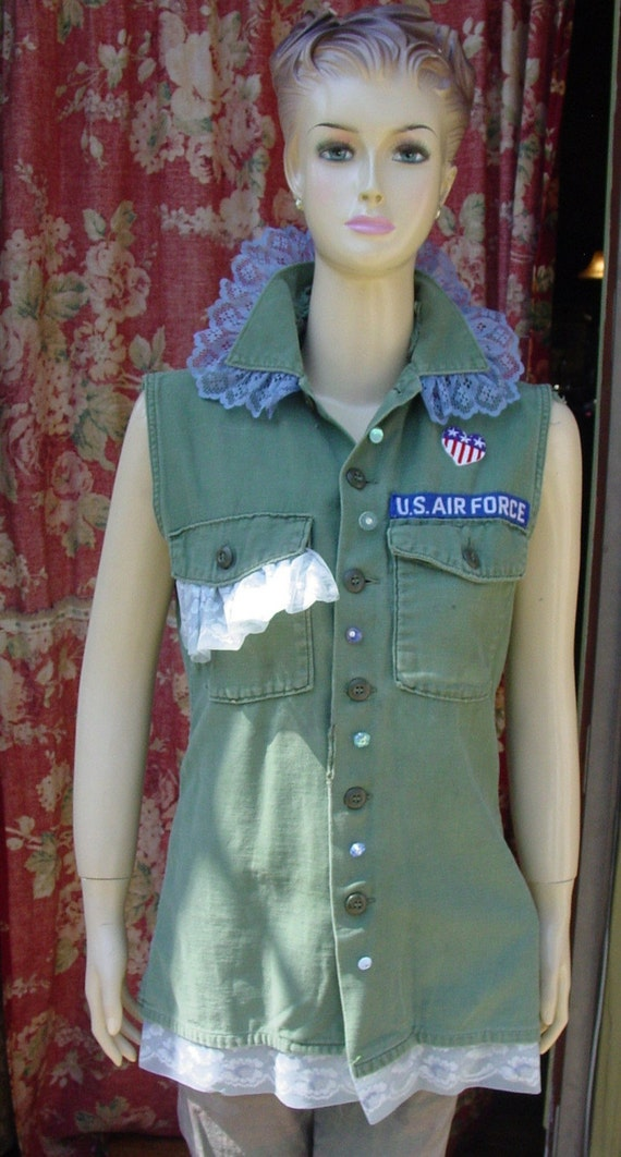 Altered US AIR FORCE Vietnam war short sleeves with peace sign vintage lace and buttons