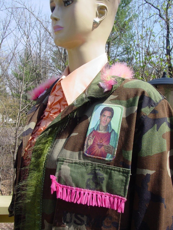 Altered Elvis as Jesus  kitsch military jacket with peace sign feathers and jewels ON SALE