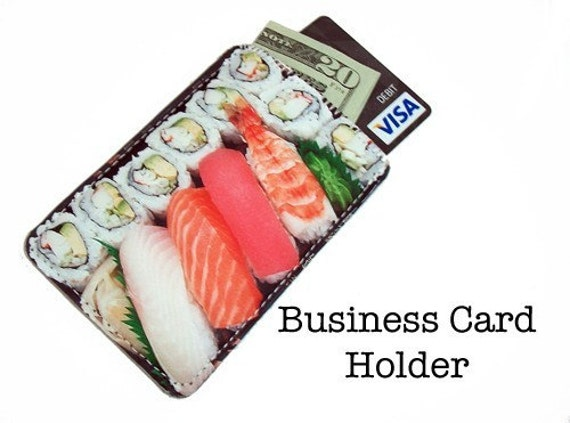 Tiny Bento Box Sushi Plate Business Card Gadget Case - Holds Credit and Debit Cards Too
