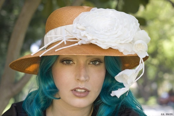 Elegant Orange Hat for Weddings and the Races