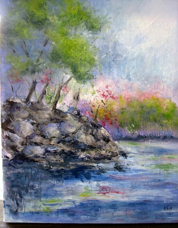ON THE ROCKS   Landscape  11x14 Original Palette Knife  Oil Painting